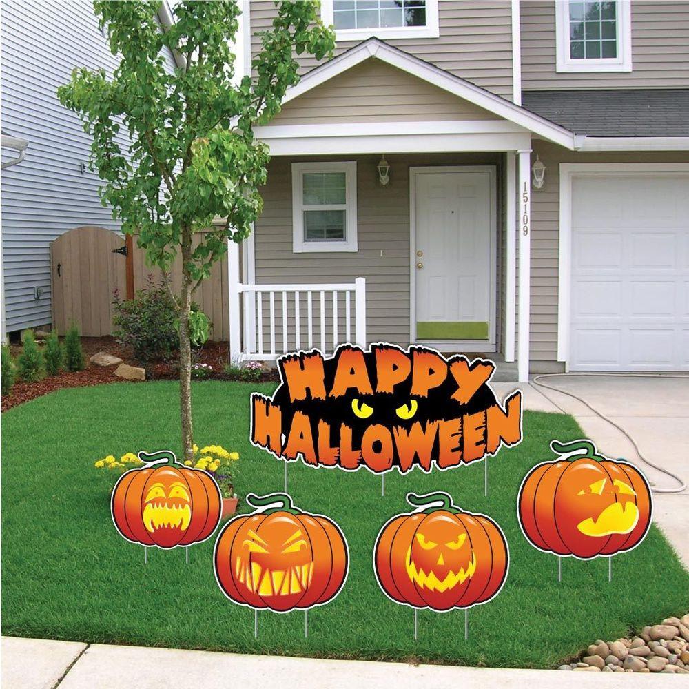 "Halloween Decoration Outdoor  ""Happy Halloween"" Pumpkin Halloween Yard Decoration Card"