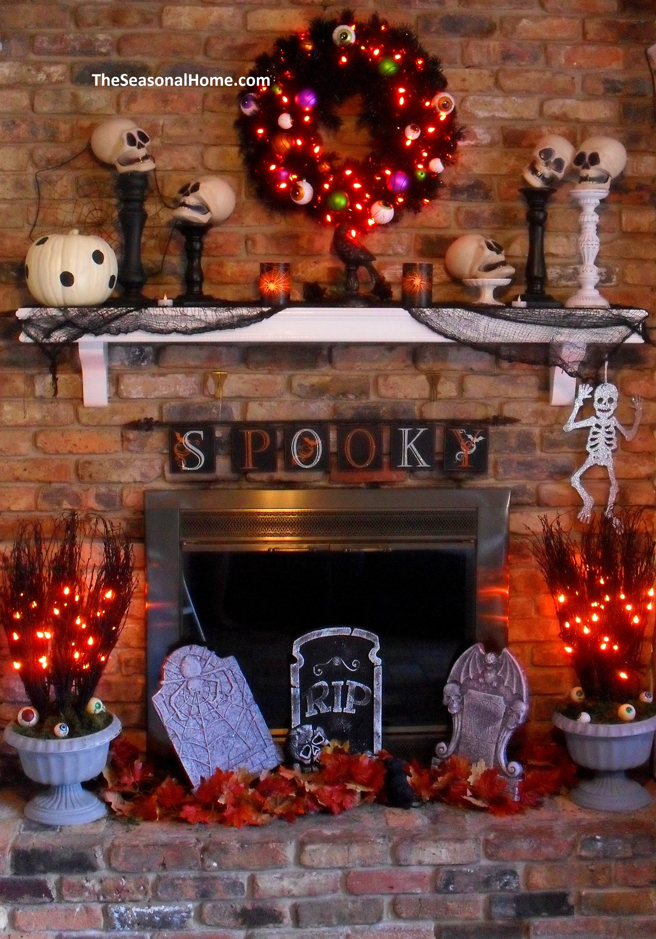 Halloween Fireplace Decorations  A Thrifty Decorating Theme for Halloween The Seasonal Home