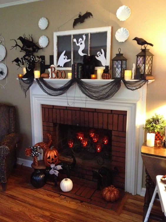 Halloween Fireplace Decorations  31 Halloween Decorated Mantels Scrapality