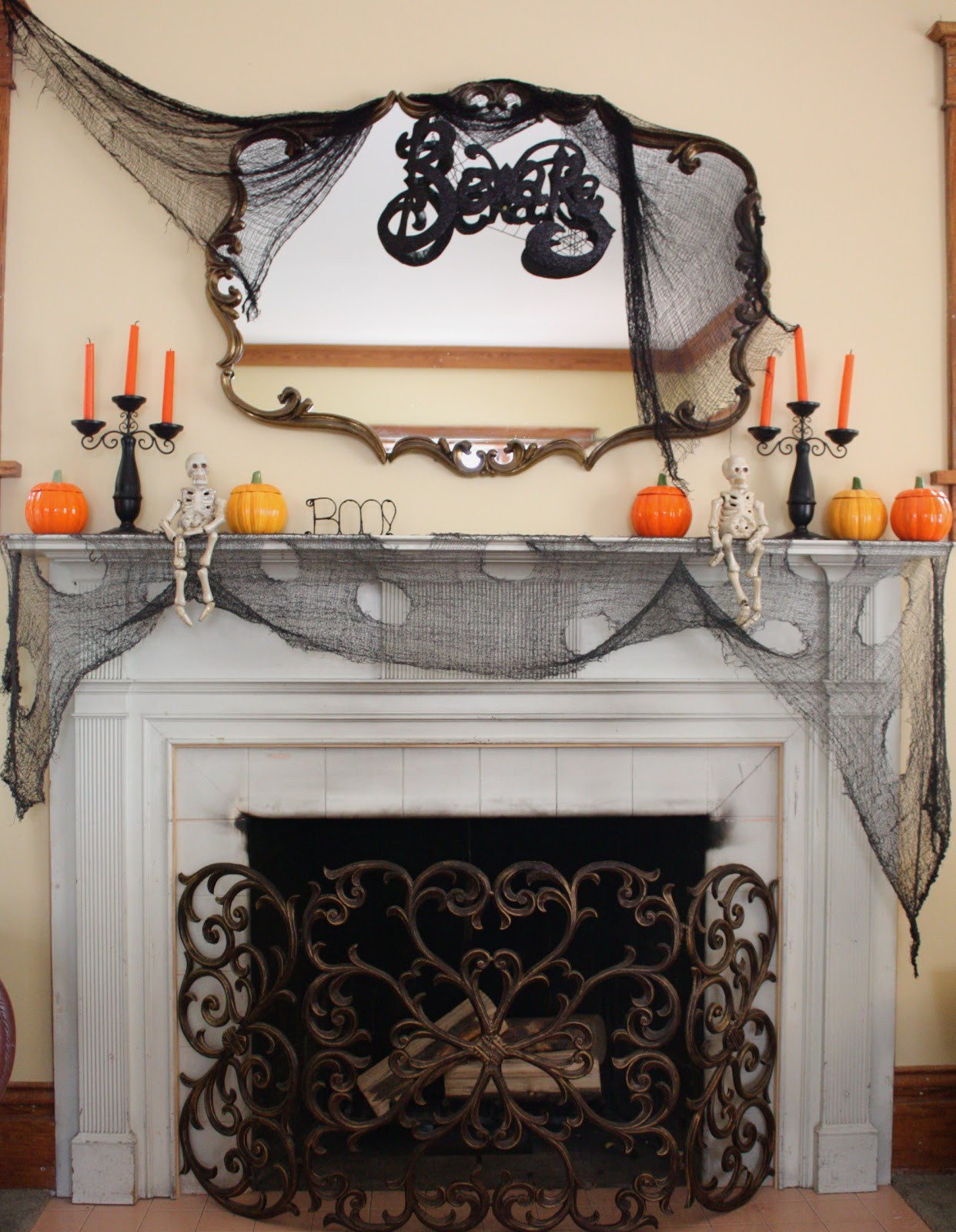 Halloween Fireplace Decorations  At Second Street Halloween mantel and other decorations
