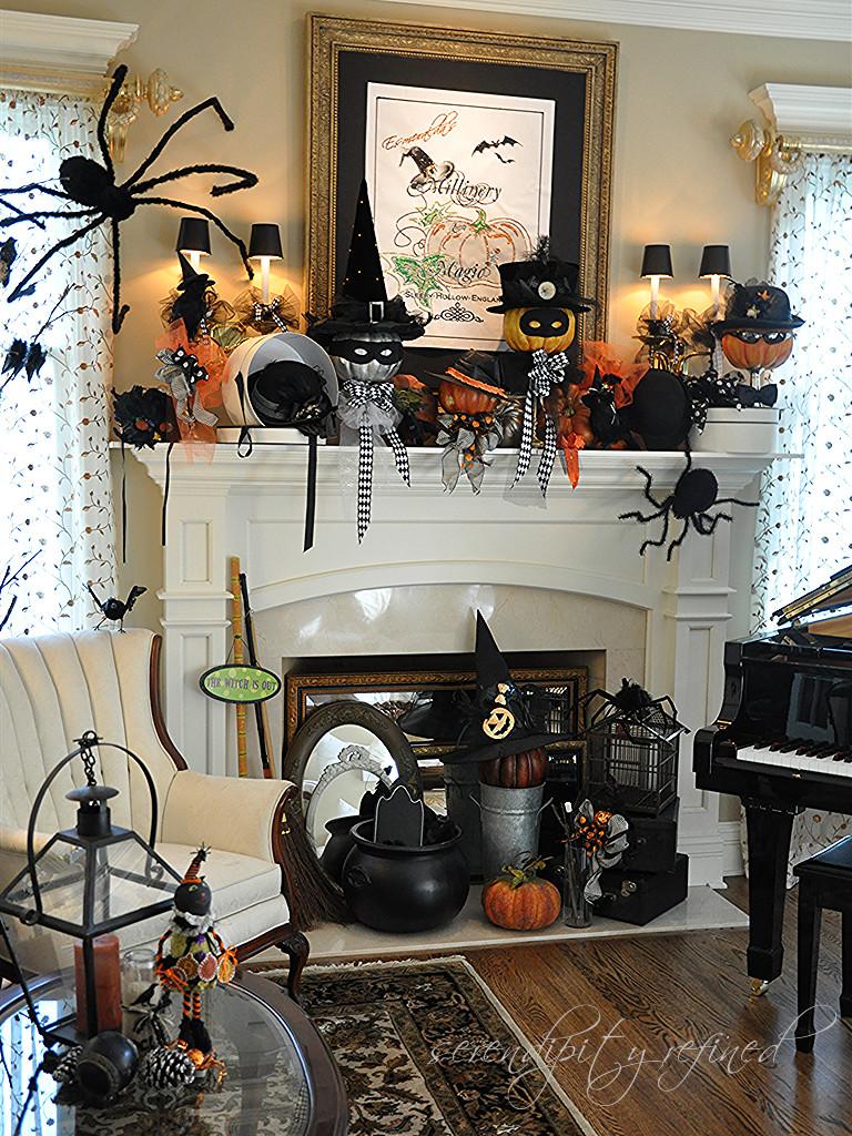 Halloween Fireplace Decorations  Serendipity Refined Blog Halloween Mantel Do you