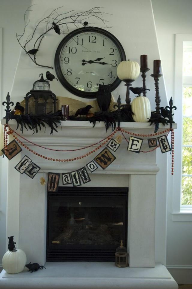 Halloween Fireplace Decorations  21 Stylish Living Room Halloween Decorations Ideas