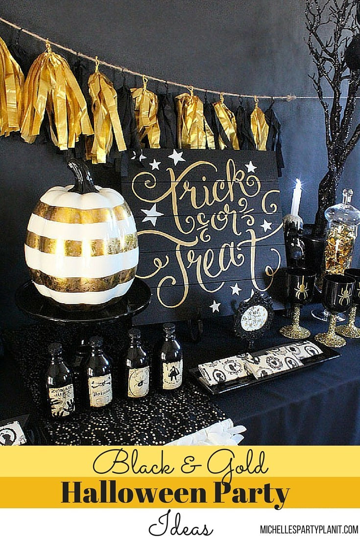 Halloween Ideas For Party  Black and Gold Halloween Party Ideas Michelle s Party