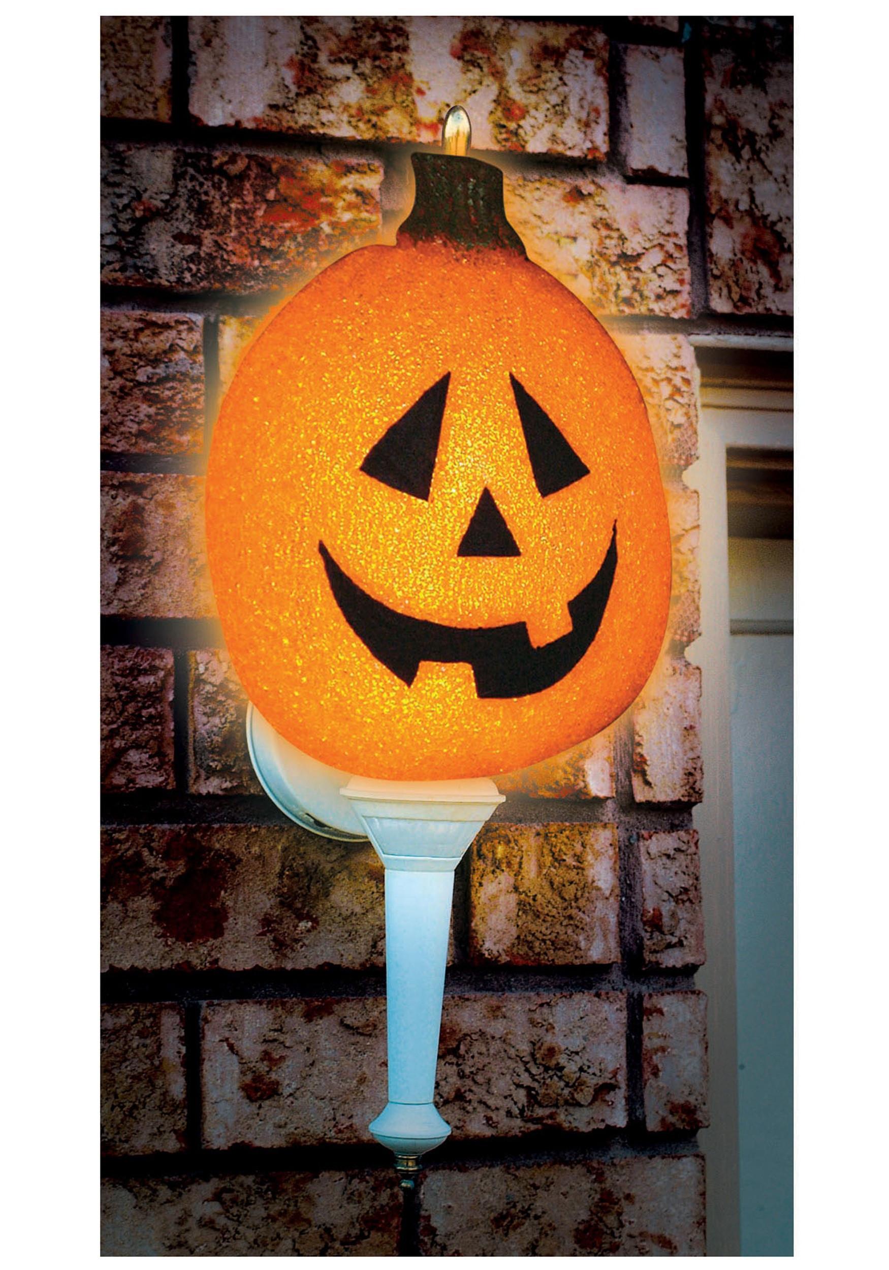 Halloween Lamp Shade Covers  Sparkling Pumpkin Porch Light Cover Outdoor Halloween