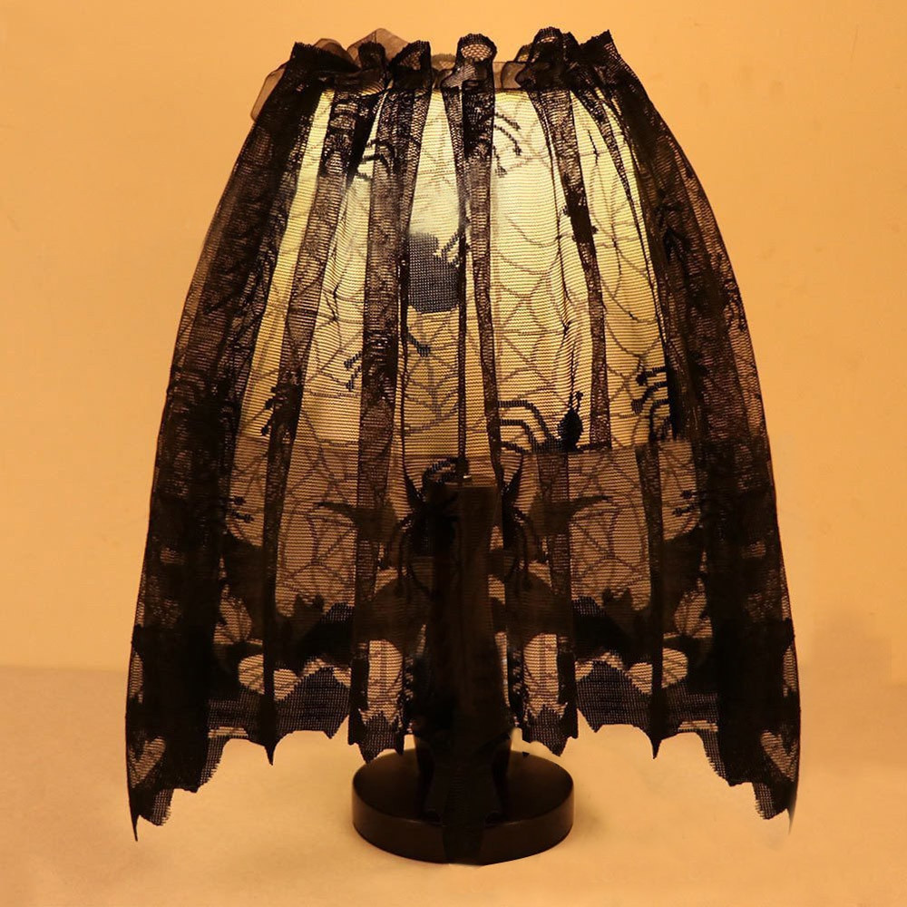 Halloween Lamp Shade Covers  2018 New Halloween Knitted Curtain Lamp Cover Black Spider