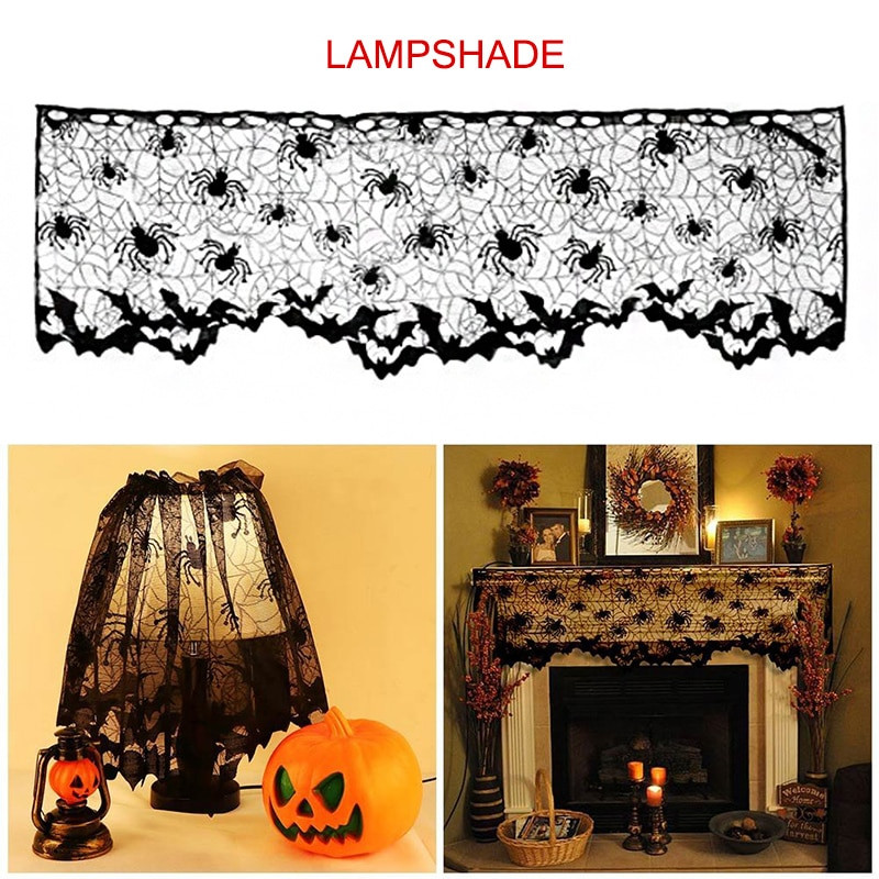Halloween Lamp Shade Covers  Halloween Decoration Lamp Shade Fireplace Scarf Spider Web