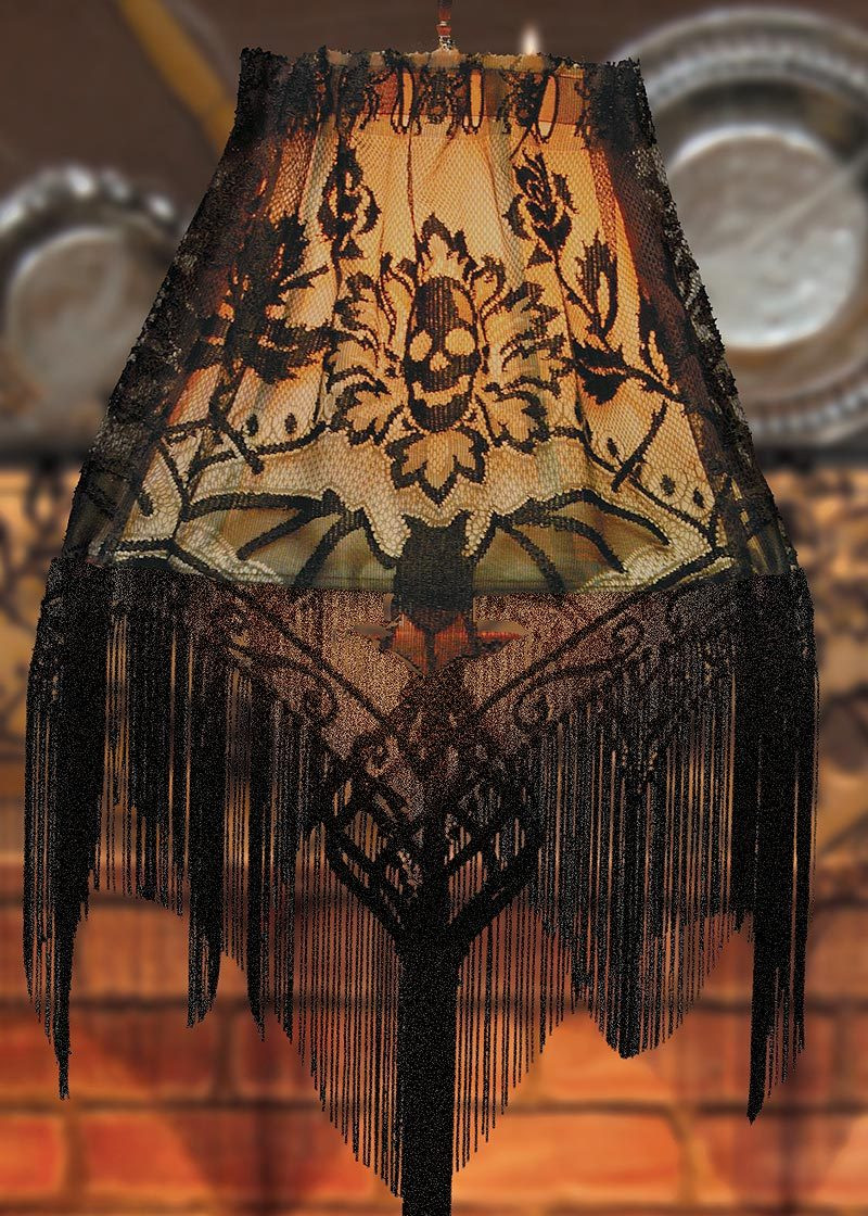Halloween Lamp Shade Covers  Skull & Roses Fringe Goth Black Lace Victorian Halloween