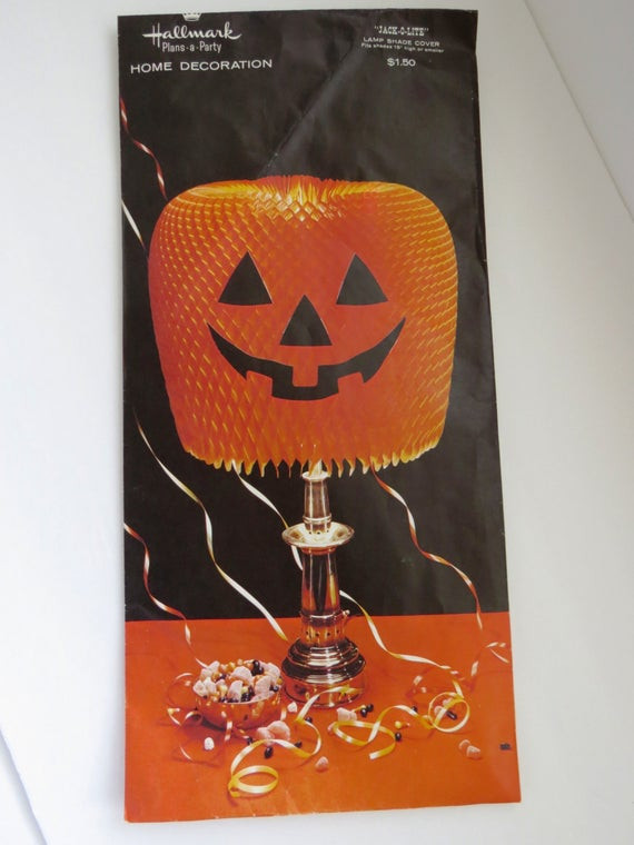 Halloween Lamp Shade Covers  Vintage Halloween Jack o lantern Lamp Shade Cover by Hallmark