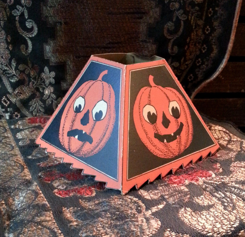 Halloween Lamp Shade Covers  1910 s Pumpkin Halloween Lamp Shade Cover Original