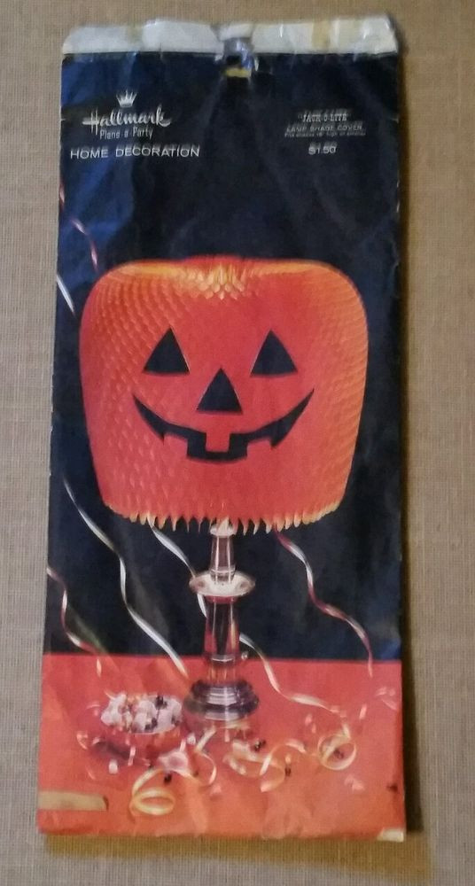 Halloween Lamp Shade Covers  Vintage Halloween Paper Honey b Pumpkin Lamp Shade