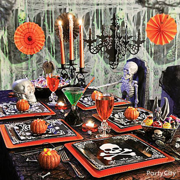 Halloween Party Decorations Ideas For Adults  Skeleton And Skull Party Ideas B Lovely Events