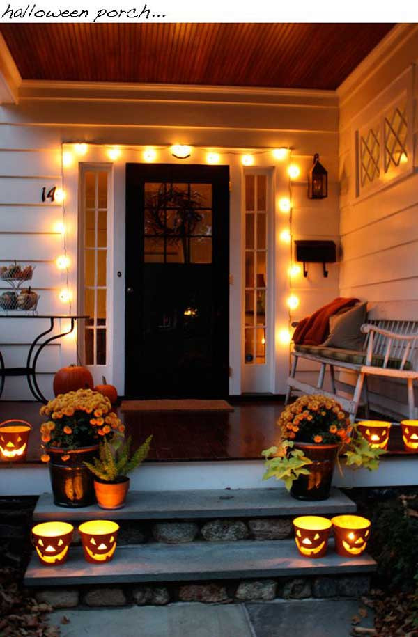 Halloween Porch Light  Cute Halloween Front Porch Decorations to Greet Your Guests