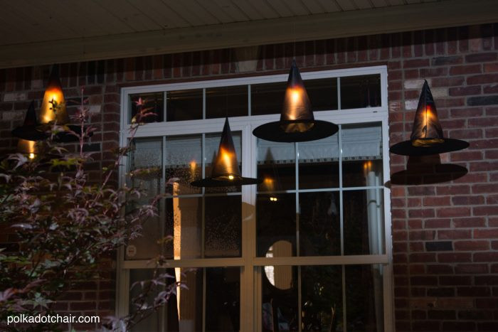 Halloween Porch Light  DIY Floating Witch Hat Luminaries Halloween Witch Decorations