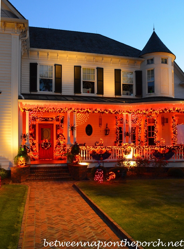 Halloween Porch Light  Decorating for Halloween with Exterior Lighting Garland