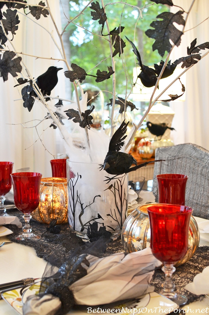 Halloween Table Centerpieces  Halloween Table Setting Tablescape with Raven Crow Centerpiece
