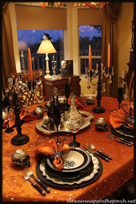Halloween Table Centerpieces  Halloween Tablescape Elegant & Eerie