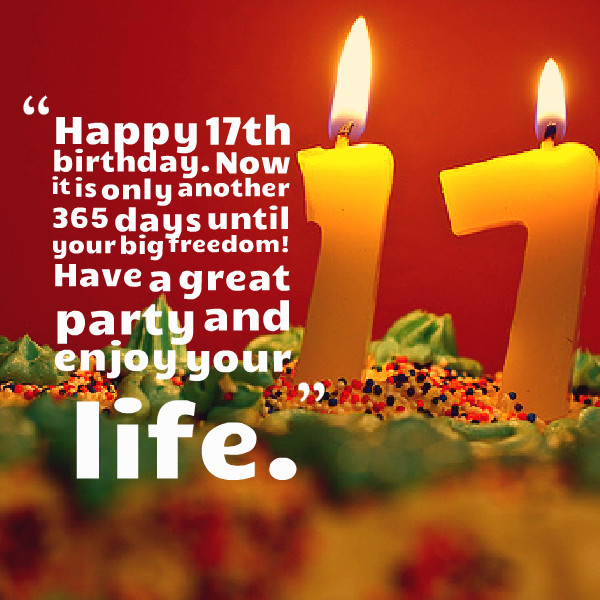 Happy 17Th Birthday Quotes  Happy 17th Birthday Quotes