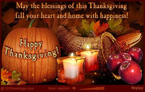 Happy Thanksgiving Blessings Quotes  Free Thanksgiving Greeting Cards