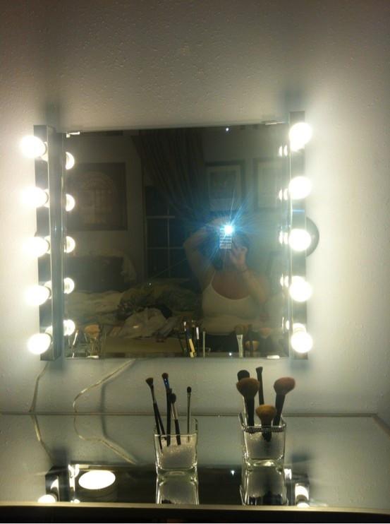 Hollywood Vanity Mirror DIY  My DIY hollywood girl inspired mirror and vanity Light