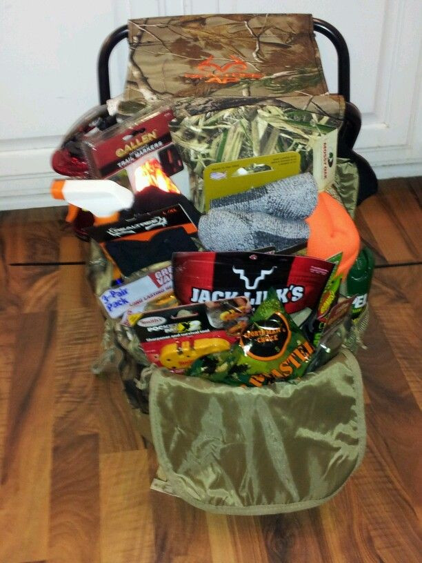 Hunting Gift Basket Ideas  Hunting Basket idea for raffle Camo backpack zip tied to