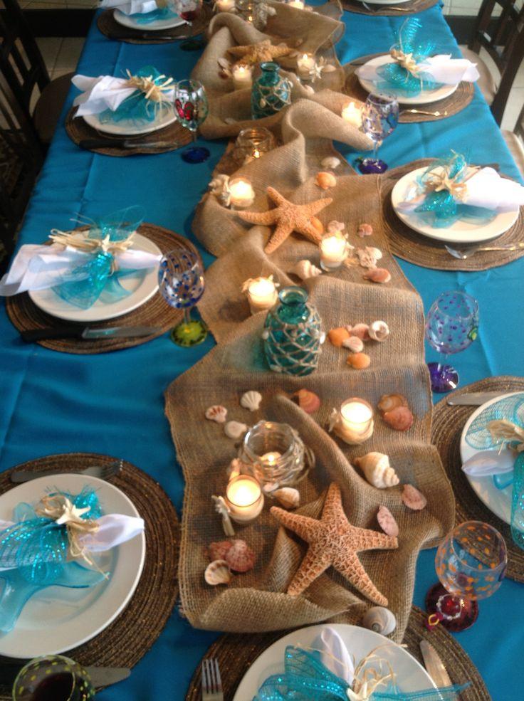 Ideas For A Beach Theme Party  Easy Arrangement Centerpieces Beach Wedding