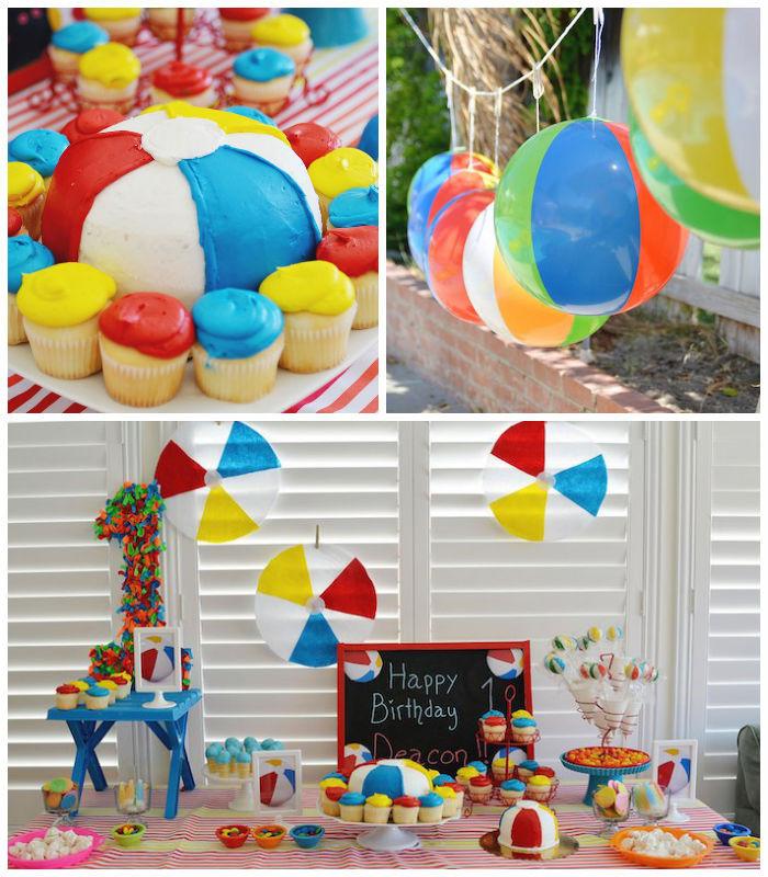 Ideas For A Beach Theme Party  Kara s Party Ideas Beach Ball Themed Birthday Party