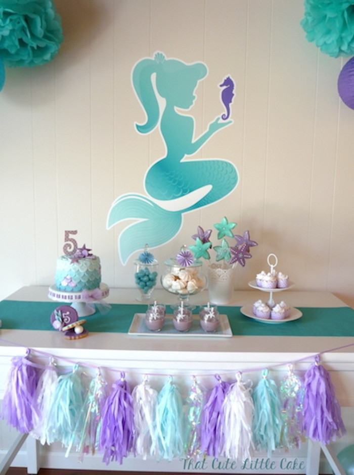 Ideas For A Mermaid Party  Kara s Party Ideas Pastel Mermaid themed birthday party