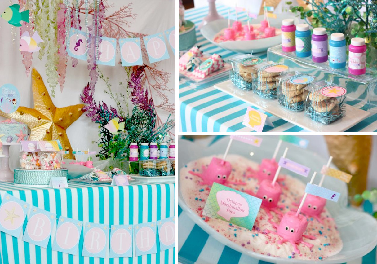 Ideas For A Mermaid Party  Kara s Party Ideas Whimsical Mermaid Girl Under the Sea