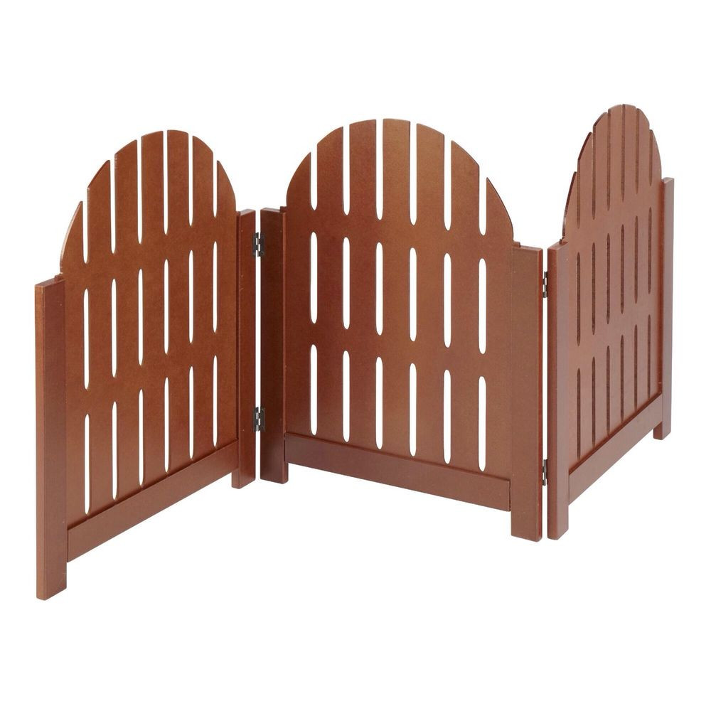Indoor Christmas Tree Fence  Wooden Pet Gate Adjustable Indoor Outdoor Dog Walnut