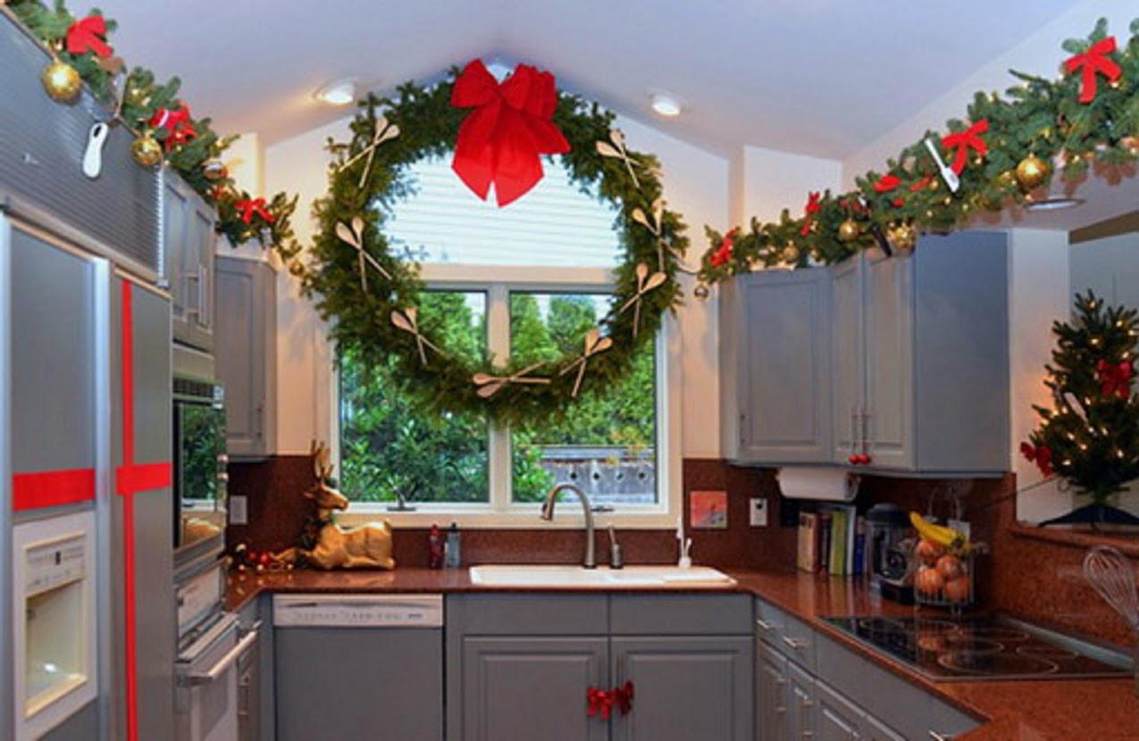 Kitchen Cabinet Christmas Decorating Ideas  Decorate windows for christmas kitchen cabinet decor