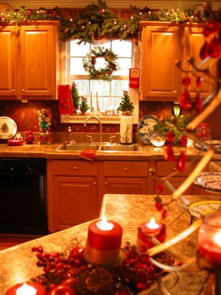 Kitchen Cabinet Christmas Decorating Ideas  Who says holiday decorating is only for the living room