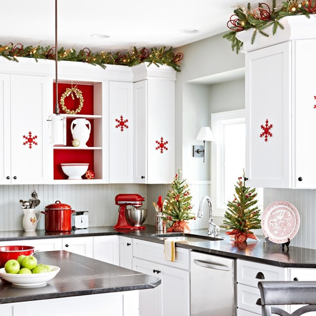 Kitchen Cabinet Christmas Decorating Ideas  Red and White Scandinavian Christmas Town & Country Living