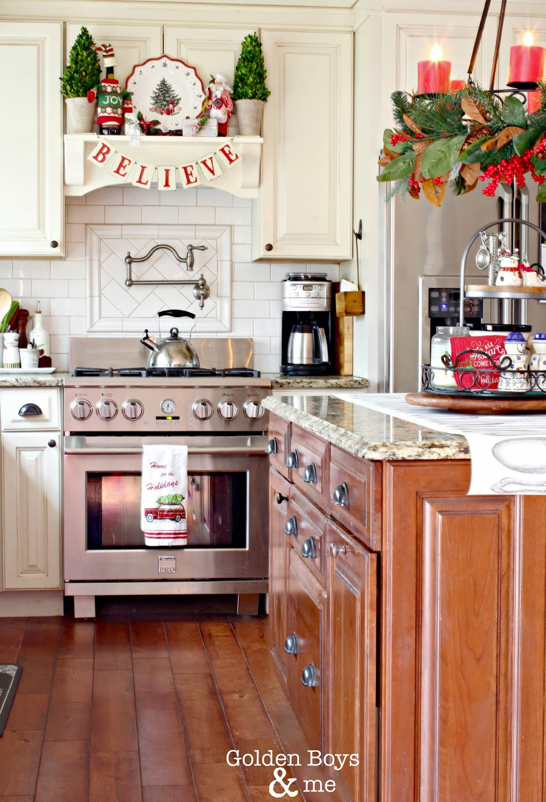 Kitchen Cabinet Christmas Decorating Ideas  Golden Boys and Me Holiday Home Tour 2014