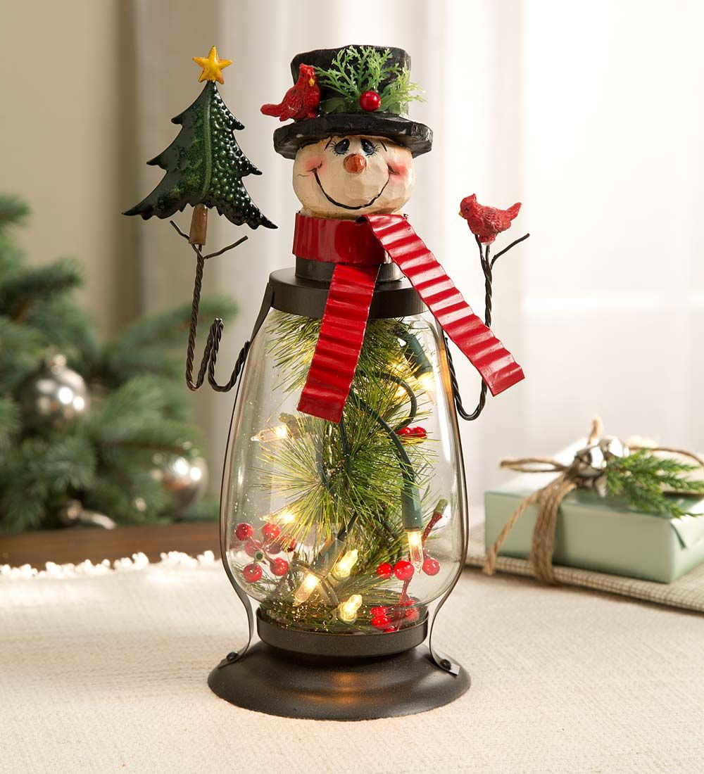 Lighted Christmas Decorations Indoor  Lighted Holiday Snowman Lantern