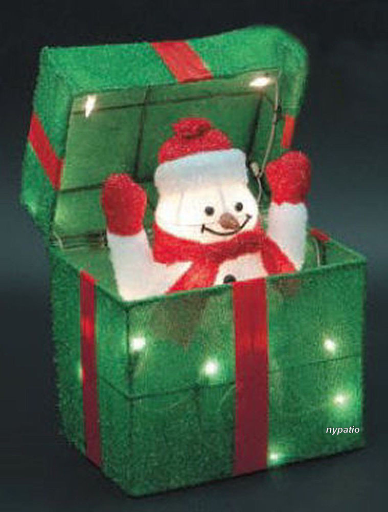 Lighted Christmas Decorations Indoor  ANIMATED SNOWMAN GIFT BOX LIGHTED TINSEL INDOOR OUTDOOR