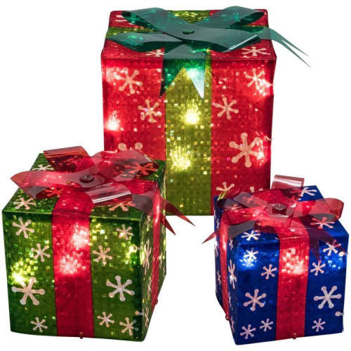 Lighted Christmas Decorations Indoor  3 Lighted Gift Boxes Christmas Decoration Yard Decor