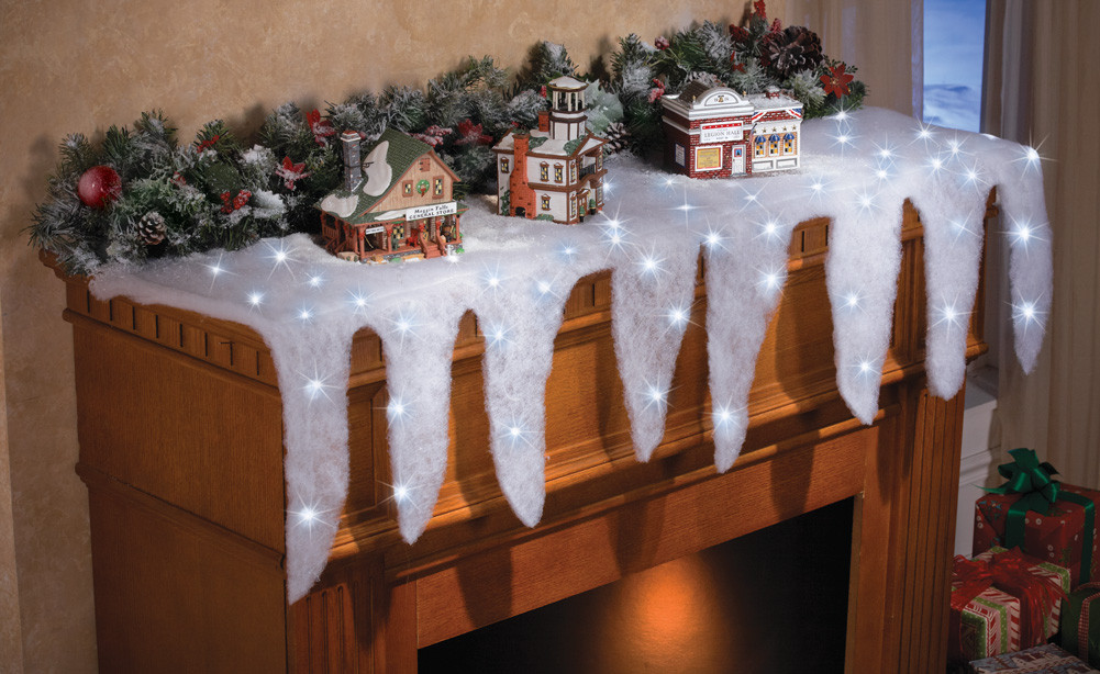 Lighted Christmas Decorations Indoor  LED Lighted Icicle Mantel Scarf Runner Indoor Christmas