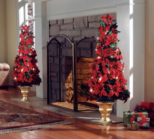 Lighted Christmas Decorations Indoor  Lighted Indoor Poinsettia Holiday Christmas Tree