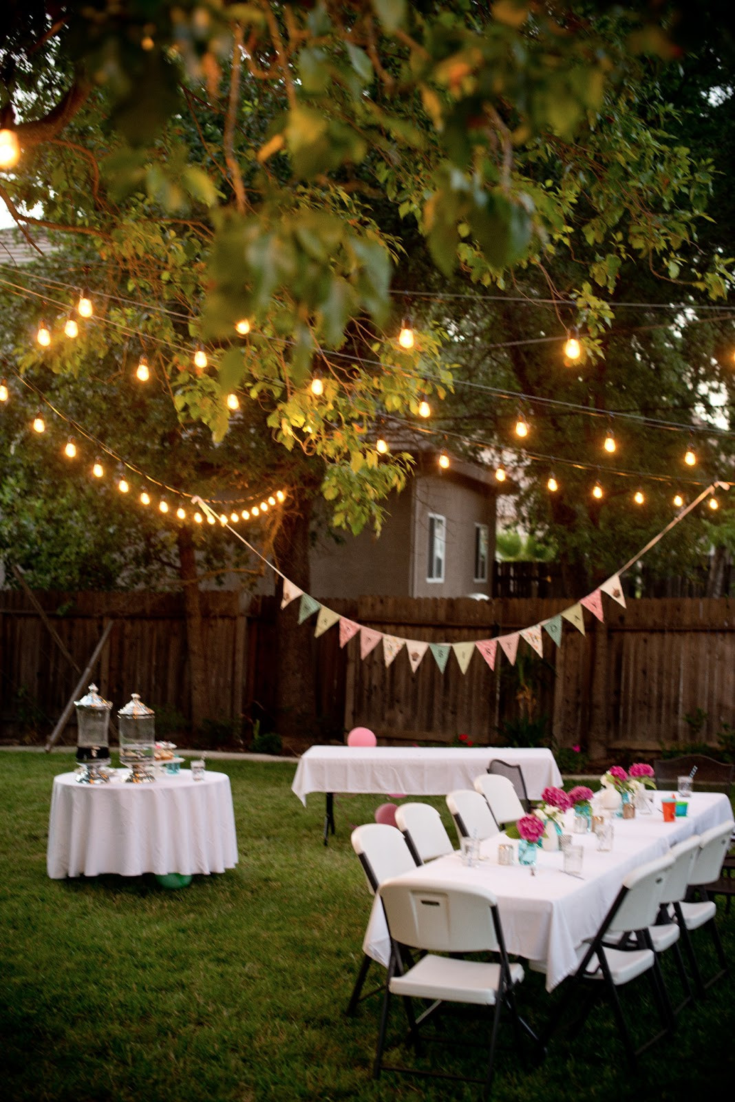 Lighting Ideas For Backyard Party  Domestic Fashionista Backyard Birthday Fun Pink