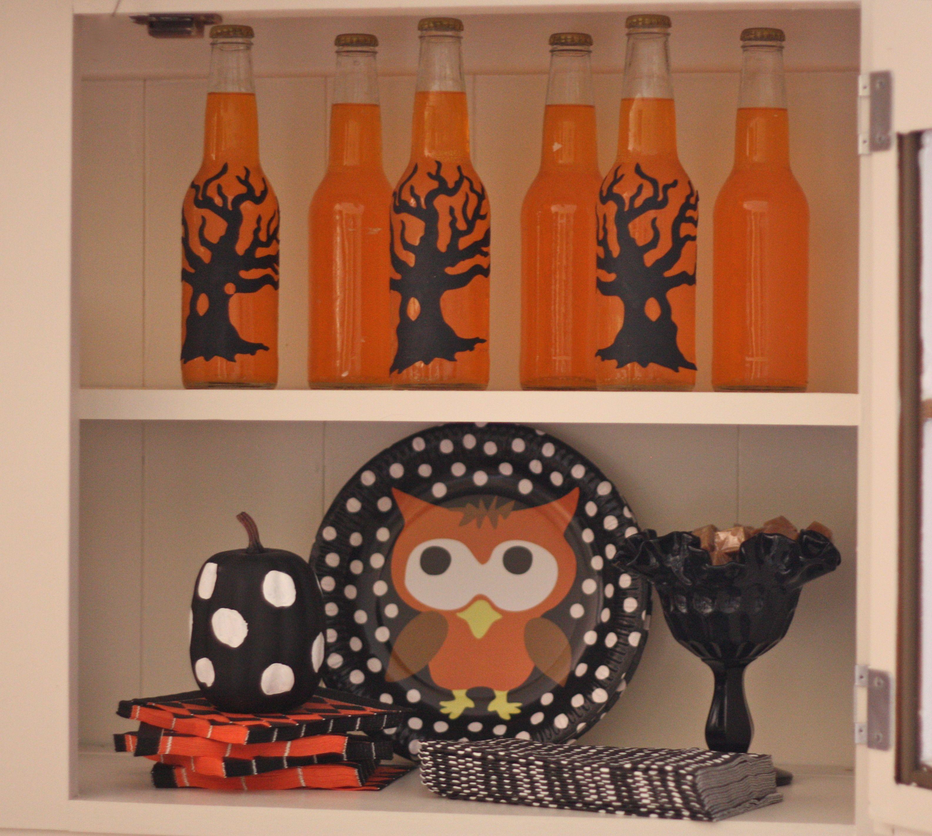 Liquor Cabinet Halloween Costumes  My Halloween Hutch Goodwill owls trees spooky Fall