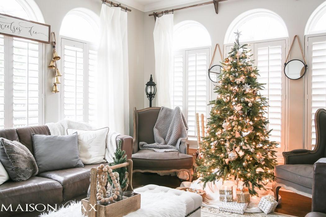 Living Room Christmas Decorations  Green and White Christmas Decorating Ideas Maison de Pax