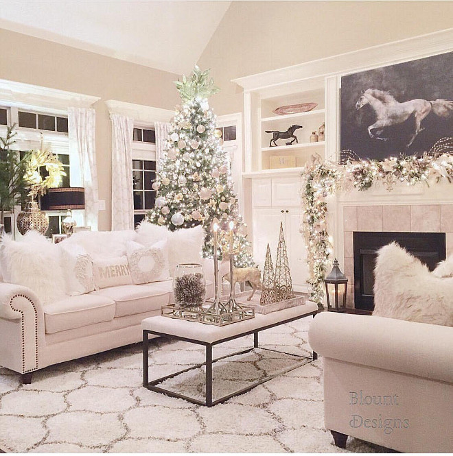 Living Room Christmas Decorations  Beautiful Homes of Instagram Home Bunch Interior Design