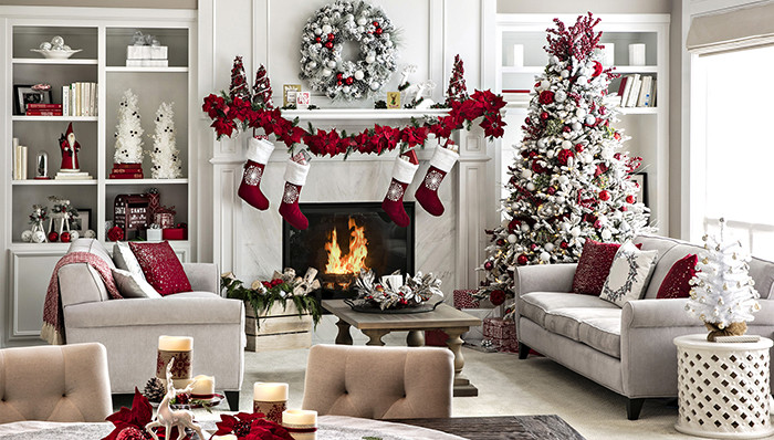 Living Room Christmas Decorations  Open Plan Living Space Holiday Decor Ideas