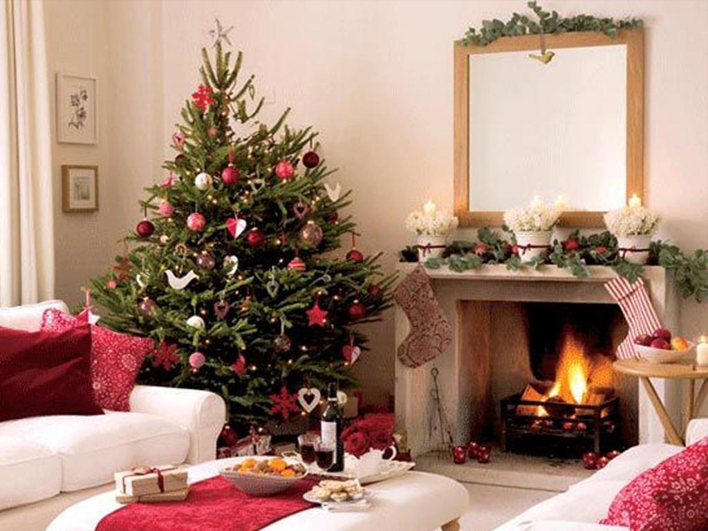 Living Room Christmas Decorations  White Xmas