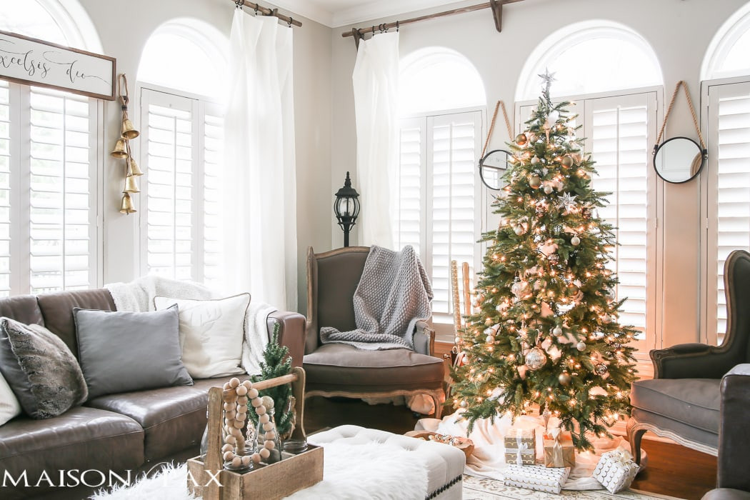 Living Room Christmas  Green and White Christmas Decorating Ideas Maison de Pax