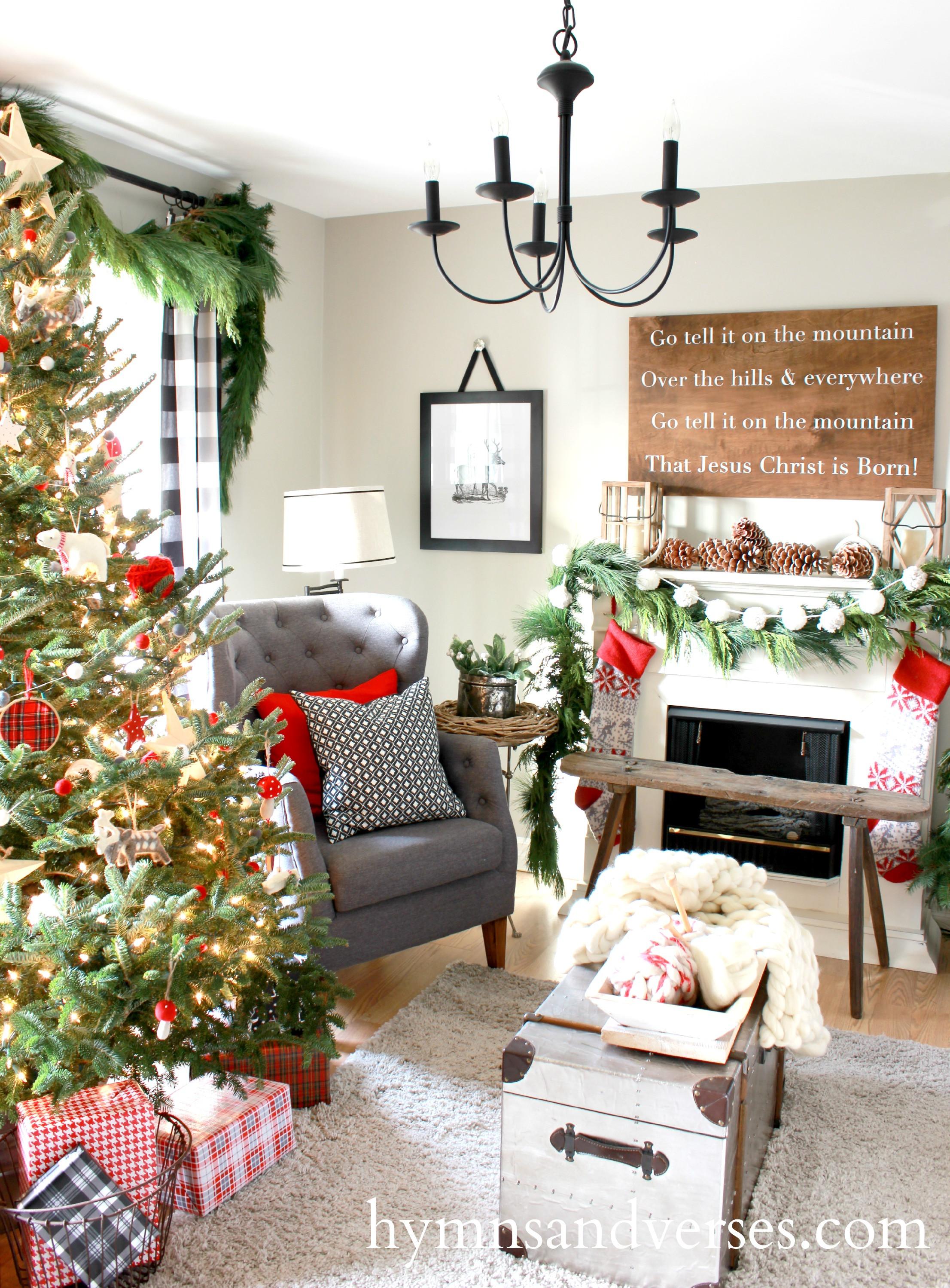 Living Room Christmas  2015 Christmas Home Tour Part 1 Hymns and Verses