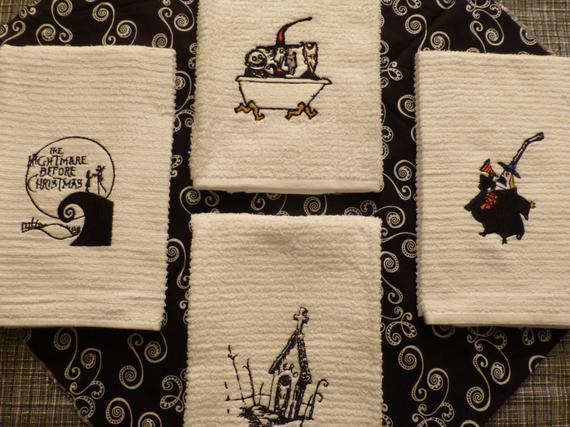 Nightmare Before Christmas Kitchen  Nightmare Before Christmas Embroidered Towels SET of FoUR Jack