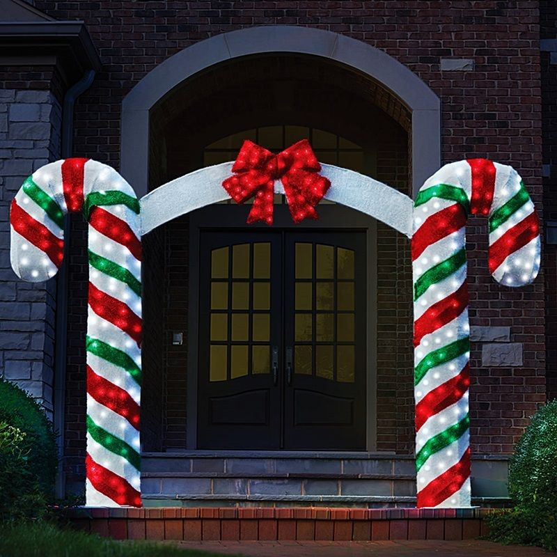 Outdoor Christmas Decorations On Sale  Peppermint Candy Cane Pre Lit Archway Red Bow Christmas