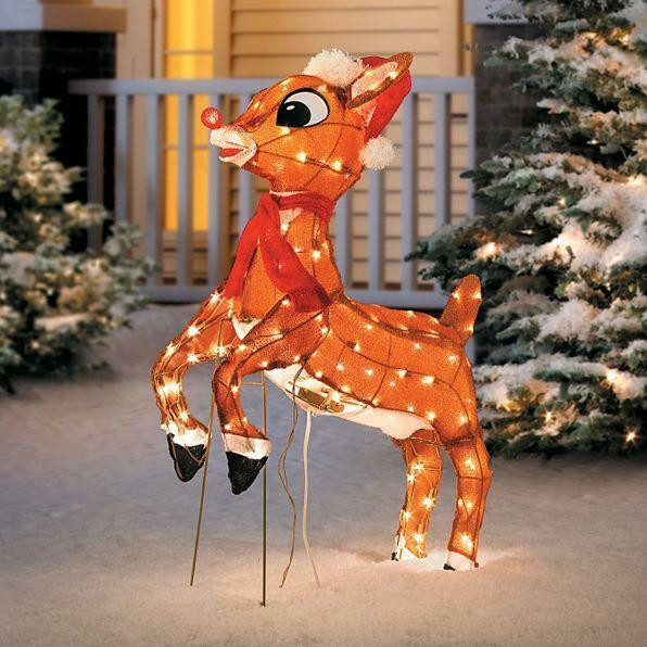 Outdoor Christmas Decorations On Sale  SALE Outdoor Pre Lit Lighted Animated Rudolph Reindeer