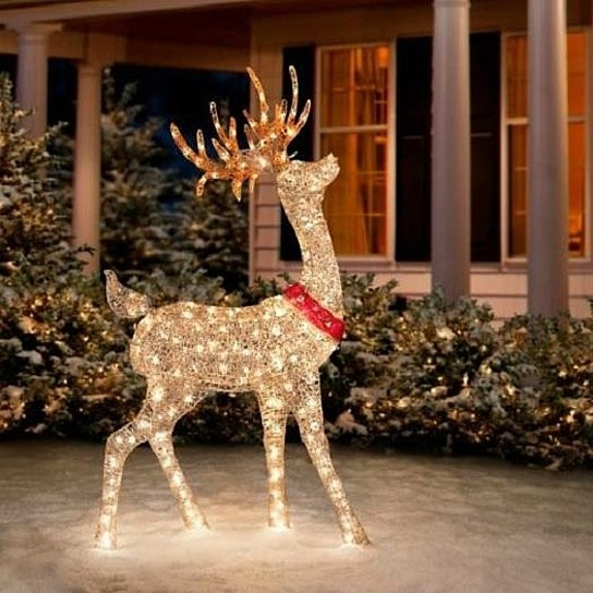 "Outdoor Christmas Decorations On Sale  Buy SALE 60"" Outdoor Lighted Pre Lit Golden Buck Reindeer"